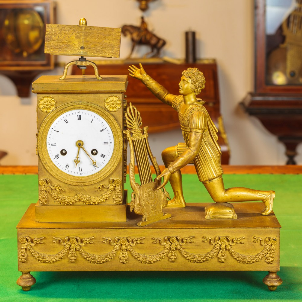 Small Table Clock With Figurine